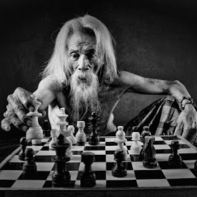 The chess master by Dikye Darling - Black & White Portraits & People ( chess, portrait )