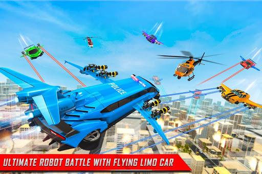 Flying Limo Robot Car Transform: Police Robot Game screenshots 5