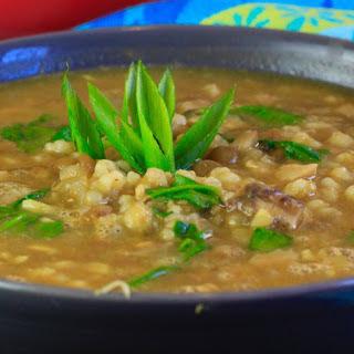 Curried Mushroom Barley Lentil Soup with Spinach [Vegan].