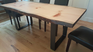 """Photo: Live Edge Pine Dining Table 72""""L x 35""""W x 30""""H Steel Legs Satin Finish Investment: 2600"""