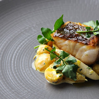 Hake Fillet With Golden Beet And Radish Salad.