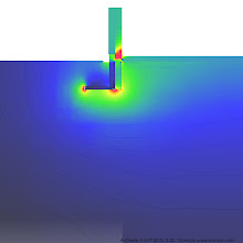 Photo: 0001 Image showing heat flux in the ground. Approximately 50% of the ground that should be included in the model is displayed in this image. Typically the ground will be modelled to a 20m depth for accurate results. Simulated in AnTherm.
