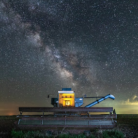 Gleaned Out 2 by Jim Talbert - Landscapes Starscapes ( landscapes, sky, canon 5d mkiv, milky way, nature, astrophotography, stars, gove co, kansas, beautiful kansas, canon, night sky, skyscape, starscape, kansas magazine, landscape, combine, only in kansas )
