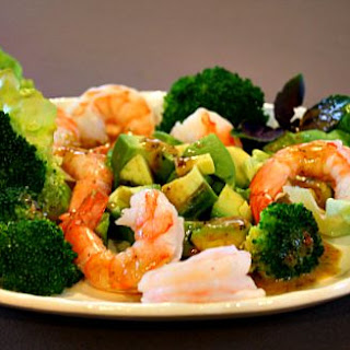 Shrimp, Broccoli, Avocado Salad with Bacon jam Vinaigrette.
