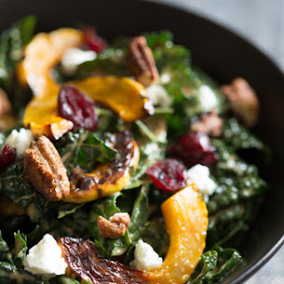 Kale Salad with Roasted Delicata Squash, Chevre, Dried Cranberries and Spiced Pecans Recipe