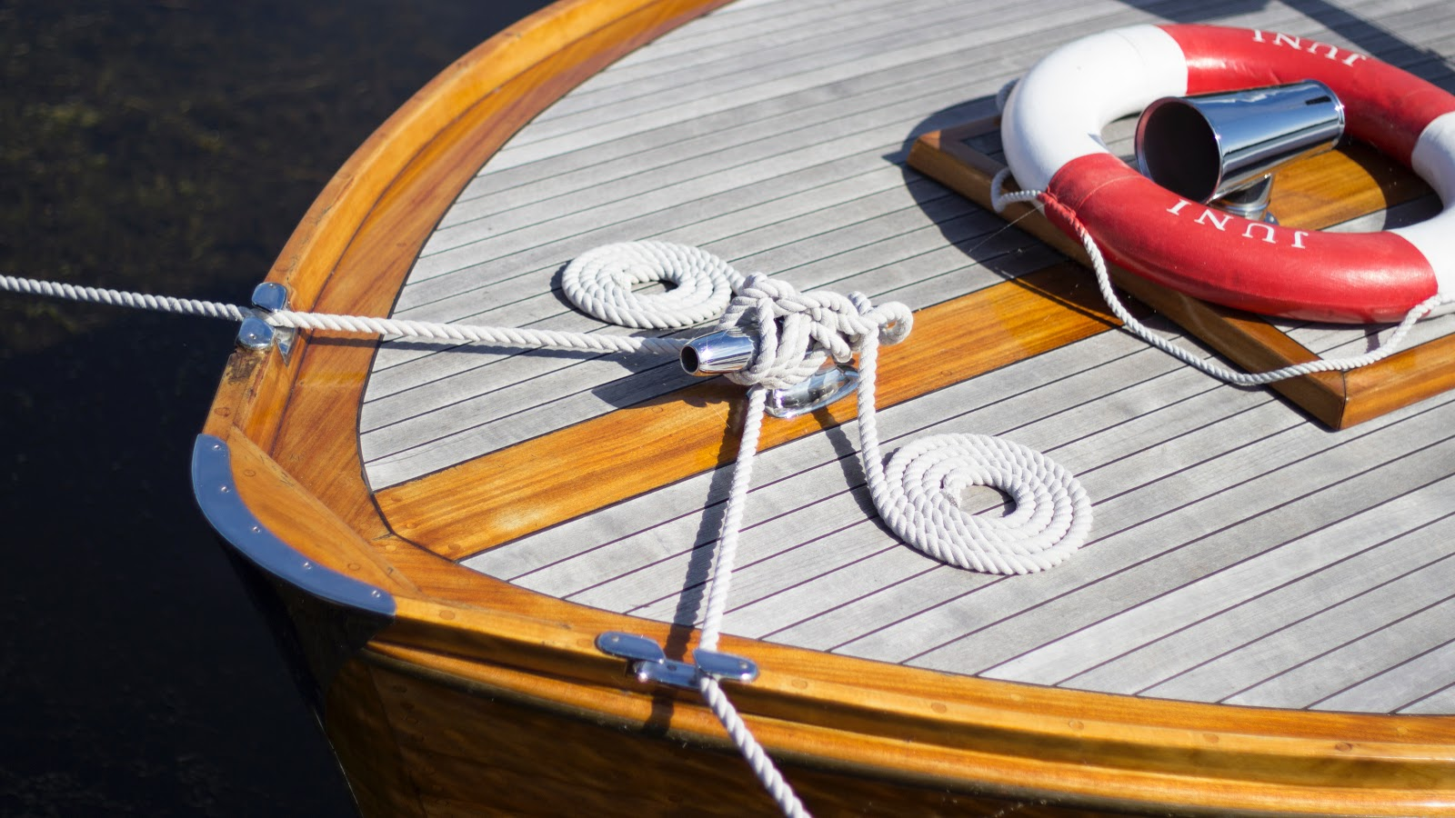 Overhead of the bow of a boat