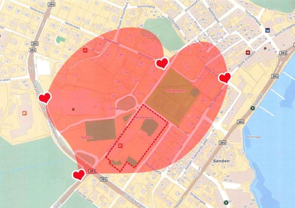 Kart over hjertesonene ved Furlunden skole