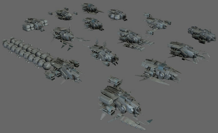 14 spaceships original collection 3D models download