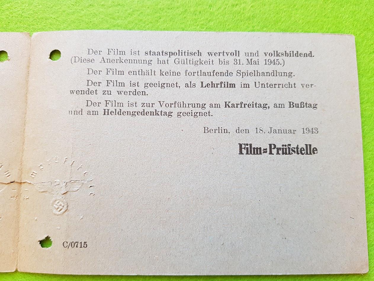 Deutsche FIlm-Herstellungs- und Verwertungs-Gesellschaft m.b.H. - Deutsches Land in Afrika - Filmvorführkarte - 1943