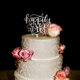 Valeri and Jerry's Wedding-The Cake by Julie Wooden - Food & Drink Candy & Dessert ( black background, cake, north dakota, church, st. john church, still life, hebron, inside, wedding cake,  )