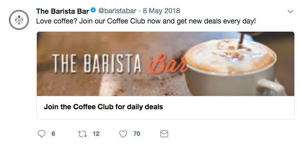 "Barista Bar uses Twitter posts to prompt followers to ""join the club"" for daily coffee deals. Source: dotdigital"