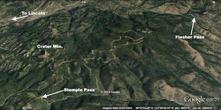 Photo: Google Earth view of the area: For most of the way, the trail parallels the Continental Divide on the east side.