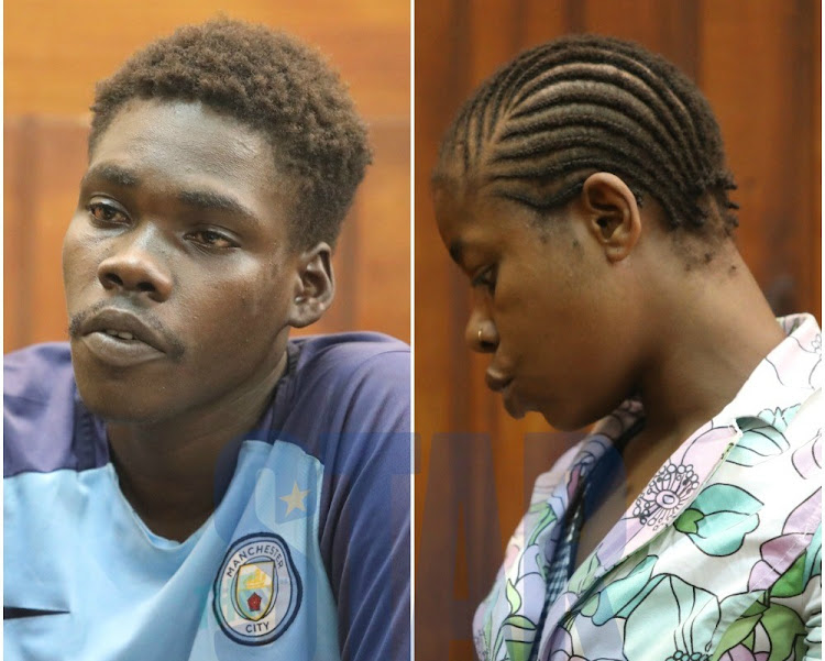 Suspects Joshua Owiti and Elsia Kazungu at a Mombasa court on Monday, January 27, 2020.