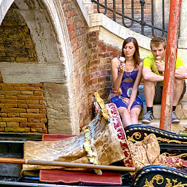 Gelato in Venice by Russ Quinlan - People Couples ( venice, couple, gelato, travel, europe, italy, gondola )