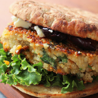Quinoa Burger with Feta and Black Olives Recipe