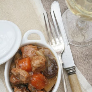 PORK AND CIDER HOTPOT WITH PRUNES.