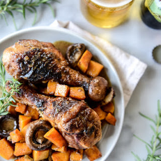 Cider Braised Chicken with Spiced Butternut and Portobello Mushrooms.