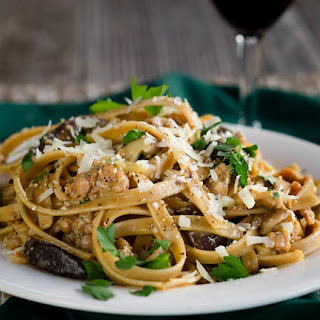 Fettuccine with Sausage and Mushrooms.