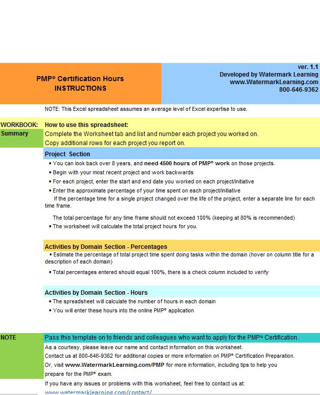 PMP Application Worksheet