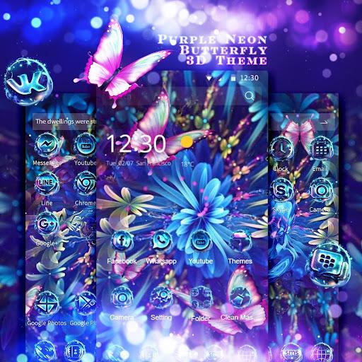 Purple Neon Butterfly 3D Theme 1.4.1 screenshots 2