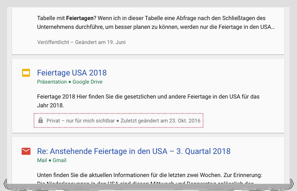 Cloud Search-Übersichtskarten