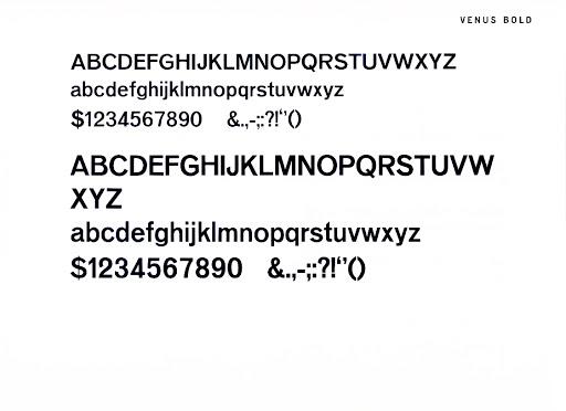 Typeface Venus Bold