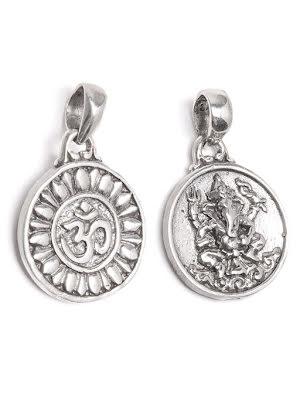 Aum i silver, runt silverhäng med Ganesha