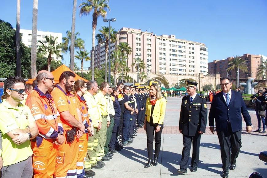 La delegada, el jefe de la Policía Autonómica y el coordinador del 112.