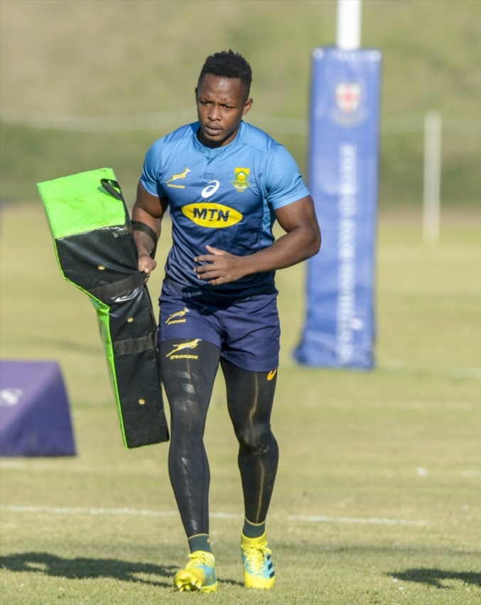 Sbu Nkosi of the Springboks during a team training session and fan engagement at St Stithians School on June 07, 2018 in Johannesburg.