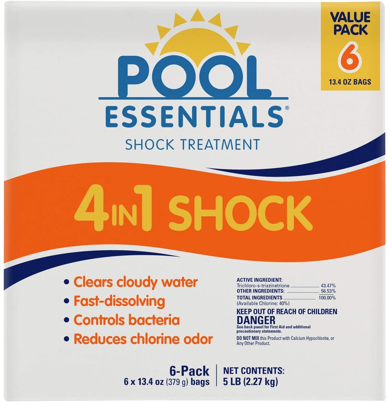 a white box of Pool Essentials 4 in 1 shock treatment for swimming pools