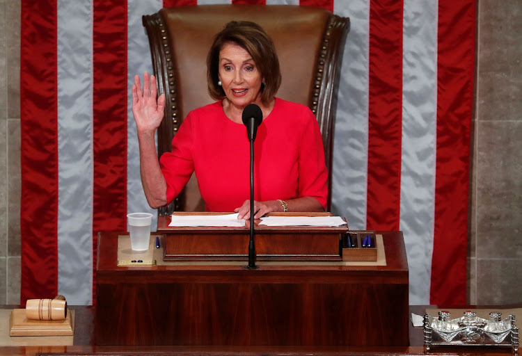 Nancy Pelosi is sworn in as speaker at the US House of Representatives in the House Chamber on Capitol Hill in Washington, the US, on January 3 2019. Picture: REUTERS/LEAH MILLIS