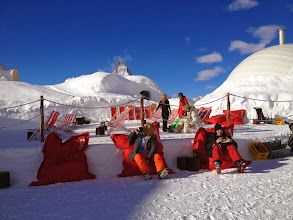 Photo: Chillin' at the Iglu halfway down run from Gornergrot