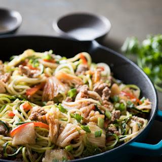 Zucchini Noodle Stir Fry with Pork & Kim Chi