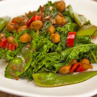 Stir-Fried Chickpeas, Snow Peas and Kale.