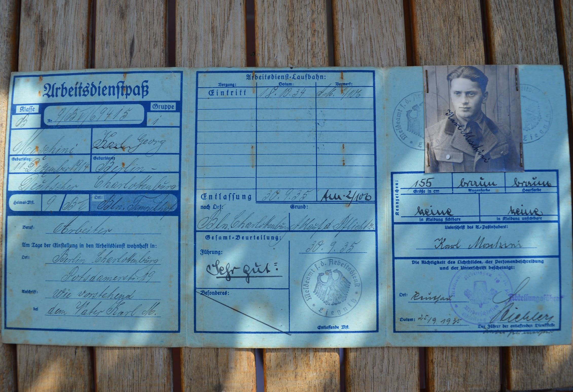 Freiwilliger Arbeitsdienst - Arbeitskarte - 1934 - Karl-Georg Moschini