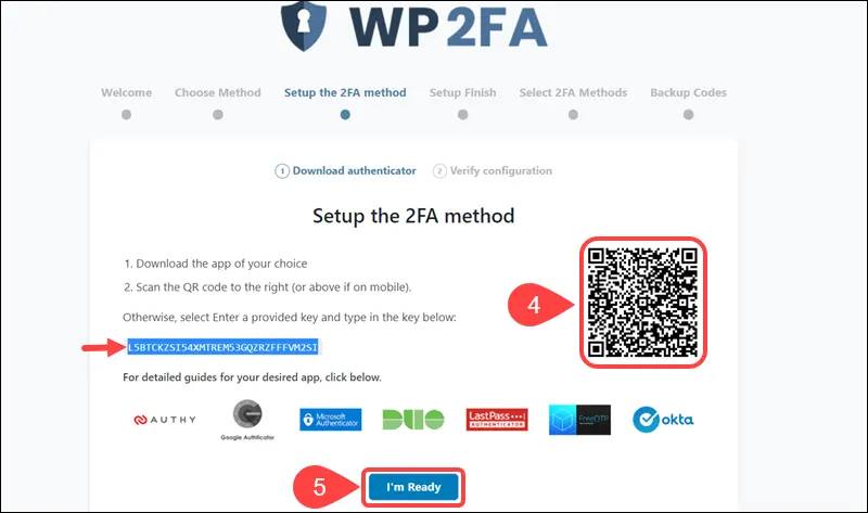 how to secure WordPress site - WP2FA setup wizard