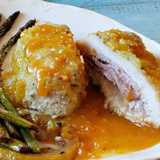 Chicken Cordon Bleu with Apricot Brandy Sauce.
