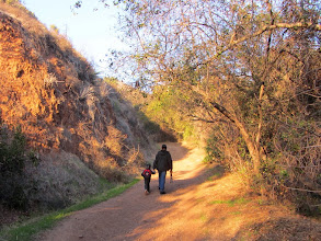 Photo: A father and son out for a walk on Colby Trail. For some reason, this fine trail has not been discovered by the throngs who swarm Garcia Trail.