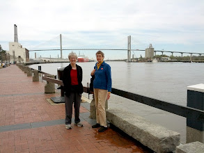 Photo: Maxine and Elinor along the Savannah River. Talmadge Memorial Bridge in the background leads over the river to South Carolina.