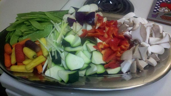add carrots, these will take the longest about 5 minutes then add leeks, bell...