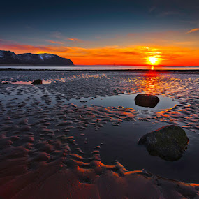 Rock Pools at Sunset by Mike Shields - Landscapes Beaches ( sand, sky, ripples, sunset, beach, pools, rocks, sun, landscape )