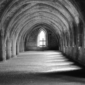 Undercroft Chapel by Big Pikey - Black & White Buildings & Architecture ( natural light, 800 year old building, monochrome study, fountains abbey, makeshift chapel,  )