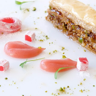 Pistachio and Walnut Baklava with Rhubarb and Rose Delights