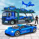 US Police Car Transporter Truck : Plane Transport icon