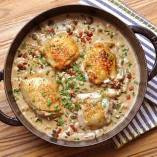Chicken with Pancetta, Mushrooms & White Wine Sauce.