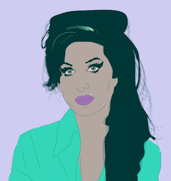 Photo: I want to include Amy in my jazz metrospective. I did a few drawings like this years ago (sans stylus – just mouse) and they turned out well. She was pure jazz, and the best fucking singer since Billie Holiday! God bless her sweet blue soul.