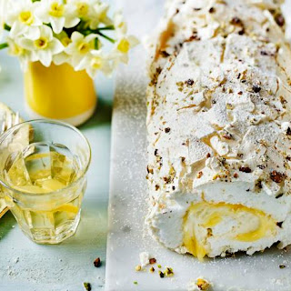 Lemon Curd and Pistachio Meringue Roulade Recipe