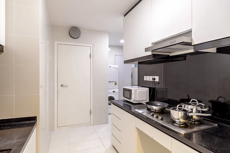 Full kitchen at Sims Avenue Serviced Residence, Orchard Road