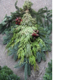Fragrant mixed greens - a unique alternative to a holiday wreath