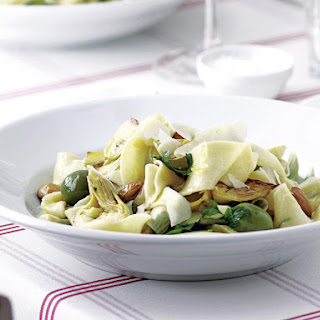 Pappardelle with Artichokes, Almonds and Olives.